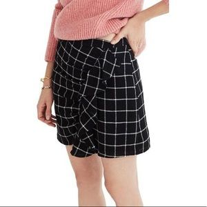 Madewell Black Windowpane Ruffle Front Mini Skirt